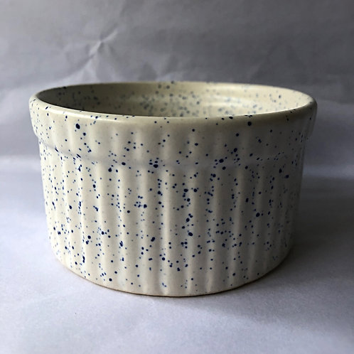 Santorini Ramekin - White with blue speckles