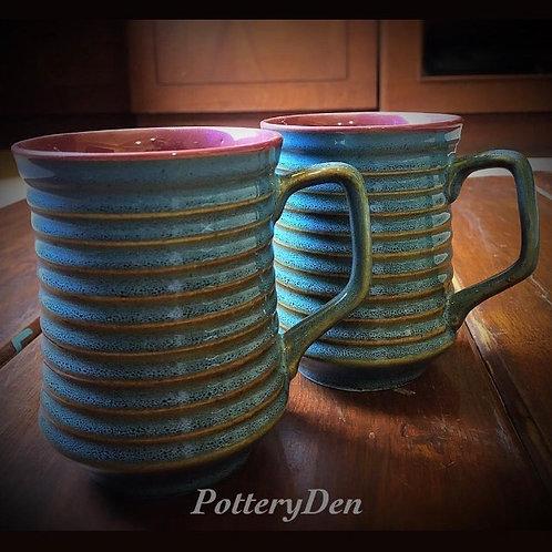 Rustic Blue Jumbo Coffee Mug 2 Piece Set