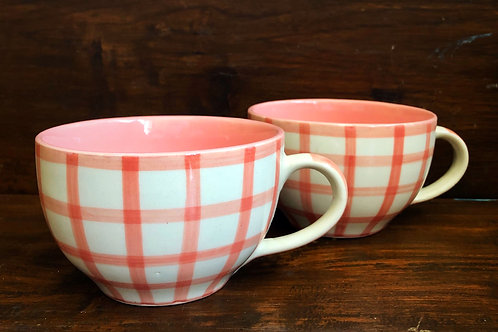 Signature Pink Checks Cappuccino Cup - Set of 2