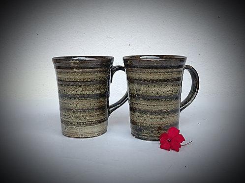 PotteryDen Coffee Time Mug Set of 2 - Rustic Raw
