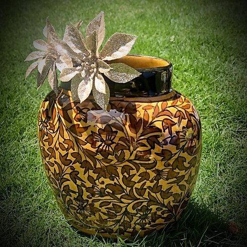 Festive Traditional Golden Brown Traditional Flower Vase