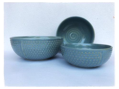 Summer Cool Powder Blue Pastel Serving Bowl Set of 3