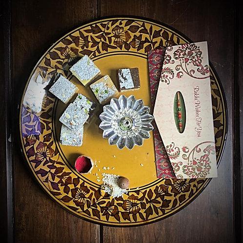 Festive Traditional Golden Brown Round Platter