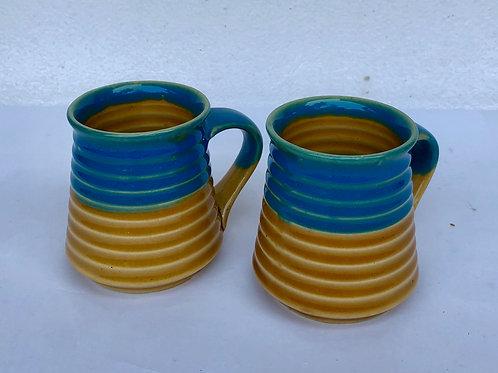 PotteryDen Coffee Time Mug Set of 2 - Mustard Blue
