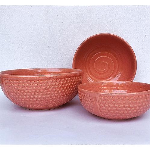 Summer Cool Peach Pastel Serving Bowl Set of 3