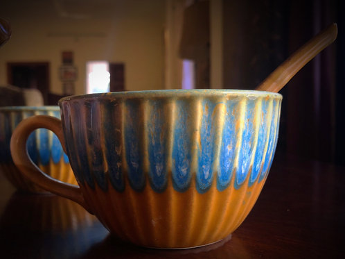 Mustard & Blue Soup Cup With Spoon