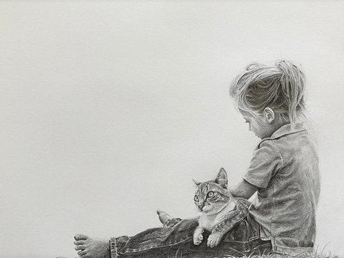 Original drawing girl and a cat  רישום מקורי ילדה וחתול