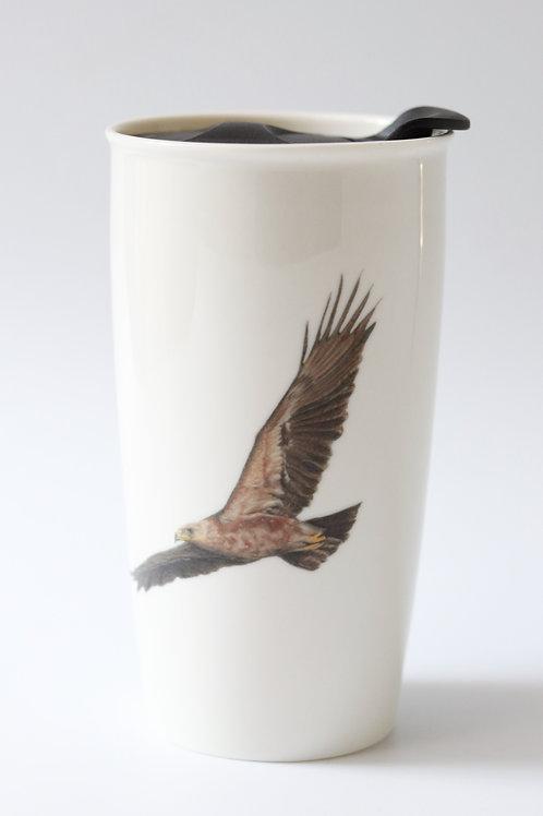 Lesser Spotted Eagle Travel mug   ספל דרך עיט חורש