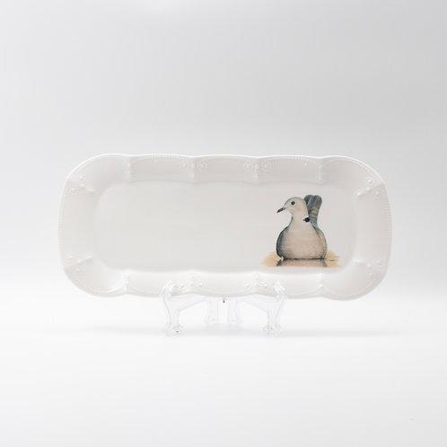 Collared Dove (open eyes) Platter  מגש תור צווארון בעיניים פקוחות