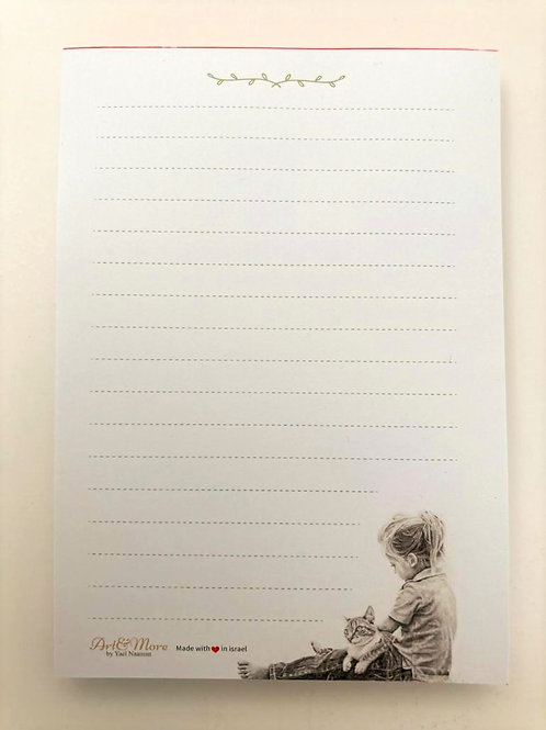 Girl and a Cat NotePad פנקס ילדה וחתול