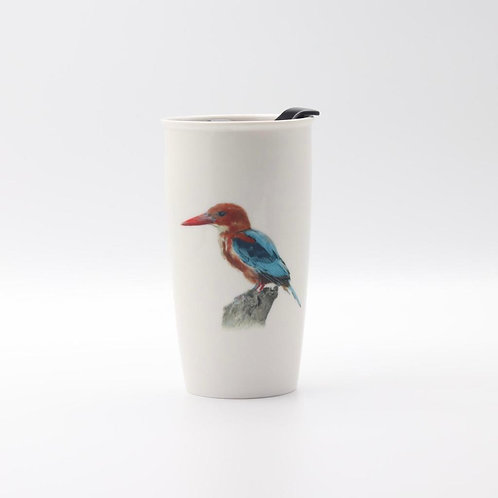 White throated Kingfisher  Travel mug  ספל דרך שלדג לבן חזה