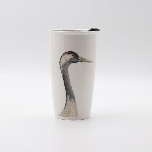 Common crane Travel mug  ספל דרך דיוקן עגור אפור