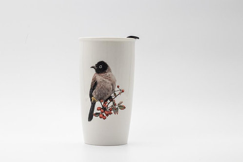 White spectacled Bulbul Travel mug  ספל דרך בולבול