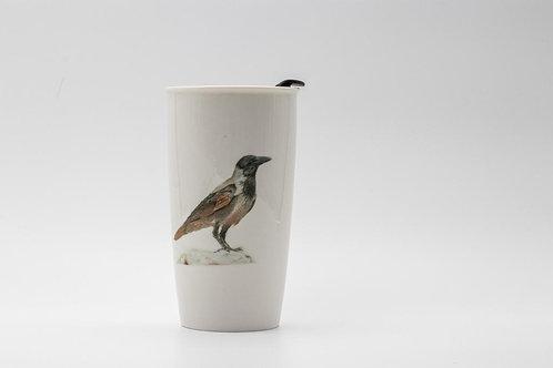 Hooded Crow Travel mug  ספל דרך עורב אפור