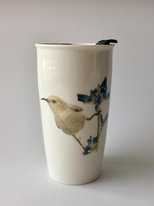 Palestine sunbird female, Travel mug  ספל דרך צופית נקבה