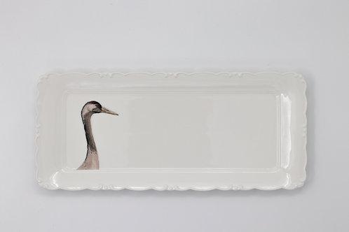 Common crane Platter  מגש דיוקן עגור אפור