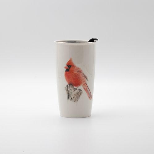 Northern Cardinal Travel mug  ספל דרך קרדינל צפוני