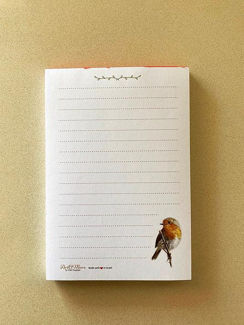 European Robin Notepad פנקס אדום החזה