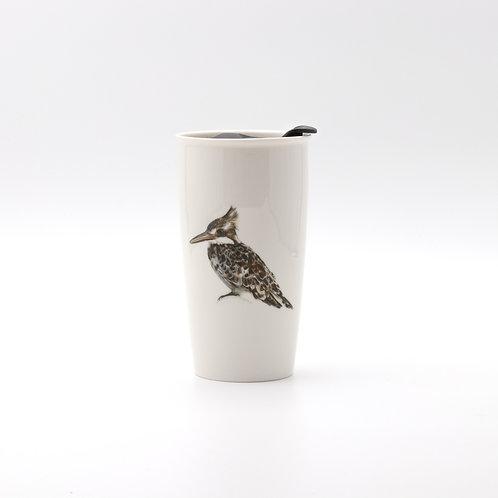 Pied Kingfisher Travel mug  ספל דרך פרפור עקוד