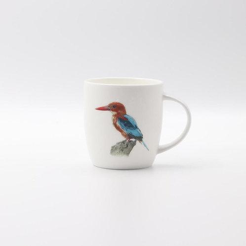 White throated Kingfisher mug  ספל שלדג לבן חזה