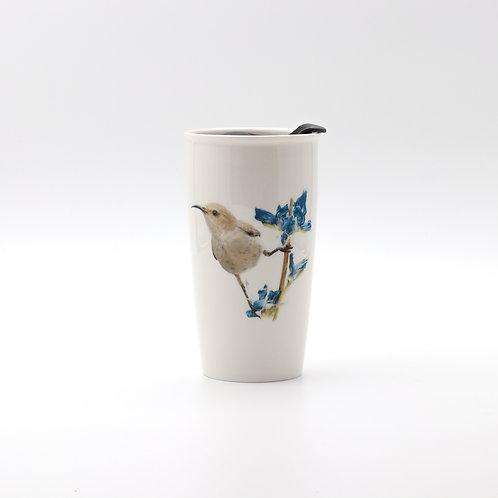 Palestine sunbird female, Travel mug  ספל דרך צופית נקבה