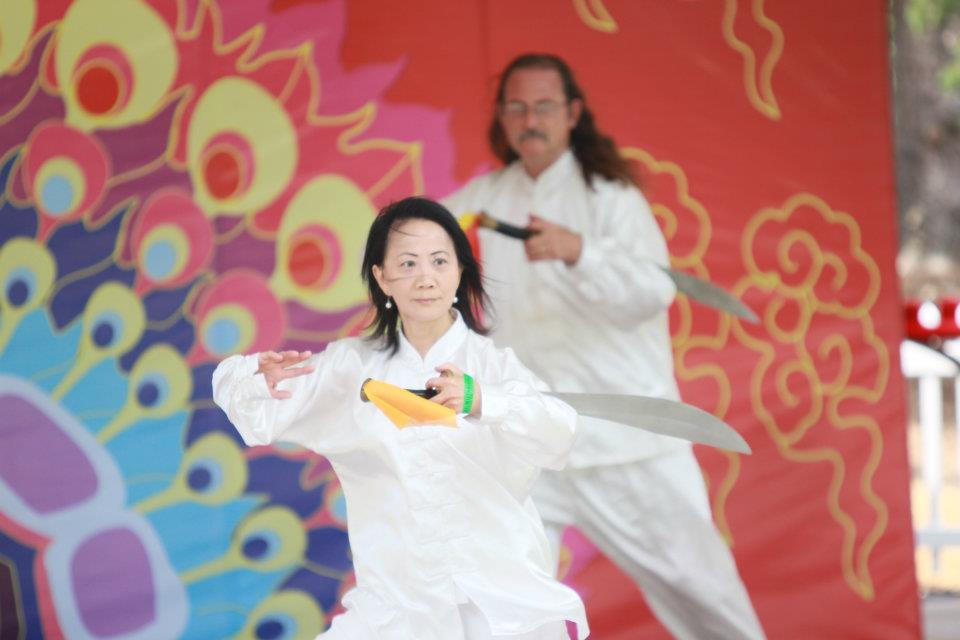 Performing Tai Chi Dao (Broad Sword with