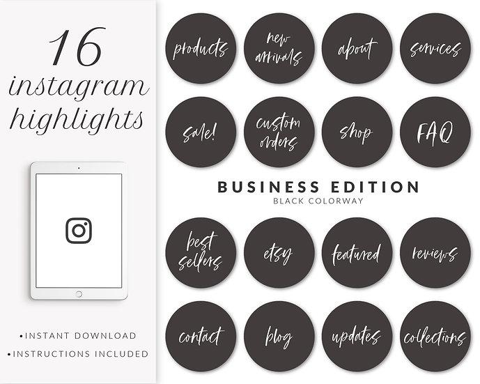Instagram Highlights: Business Edition (Black)