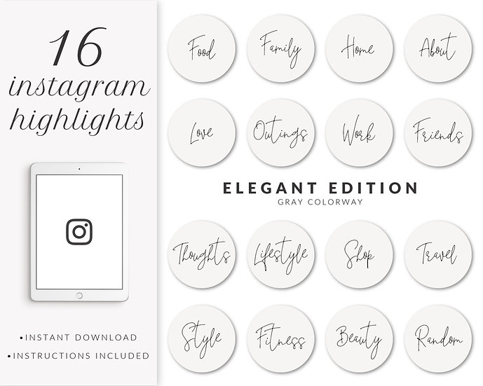 Instagram Highlights: Elegant Edition (Gray)