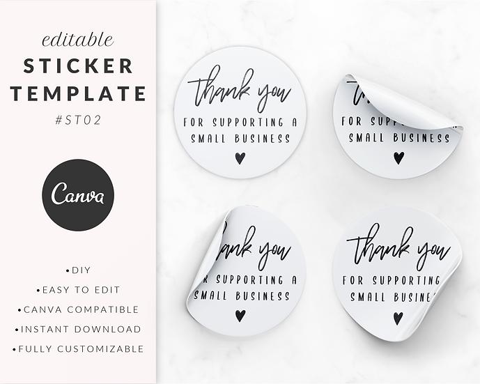 'Thank You' Sticker Template - ST02