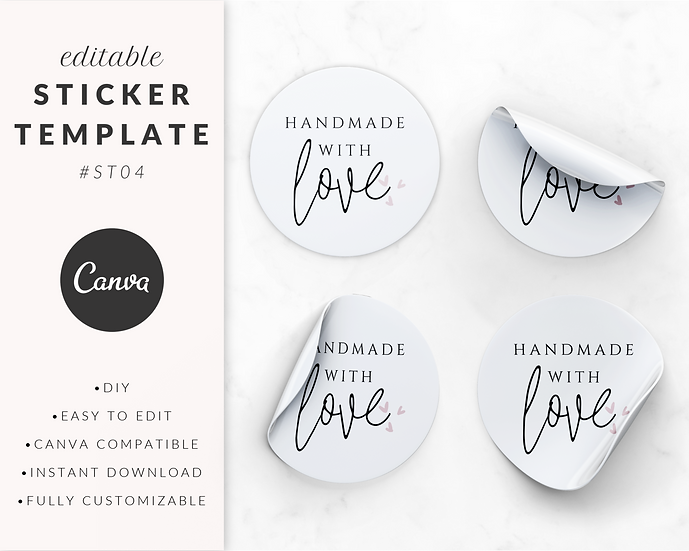 'Handmade With Love' Sticker Template - ST04