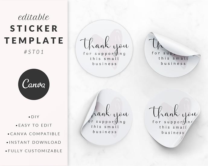 'Thank You' Sticker Template - ST01