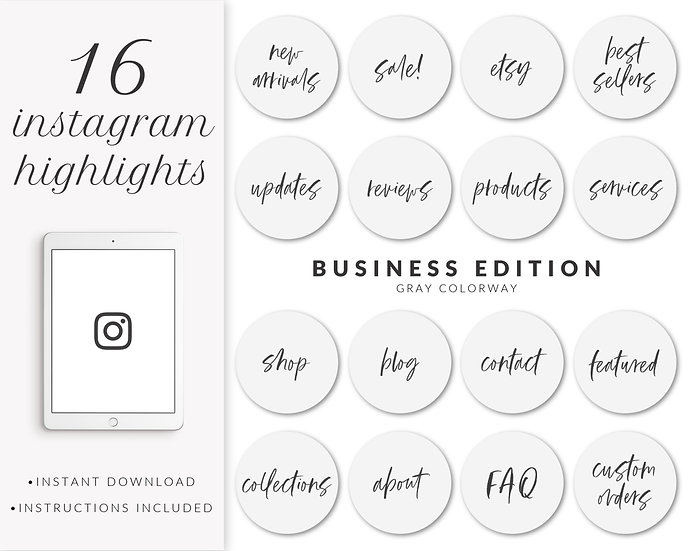 Instagram Highlights: Business Edition (Gray)