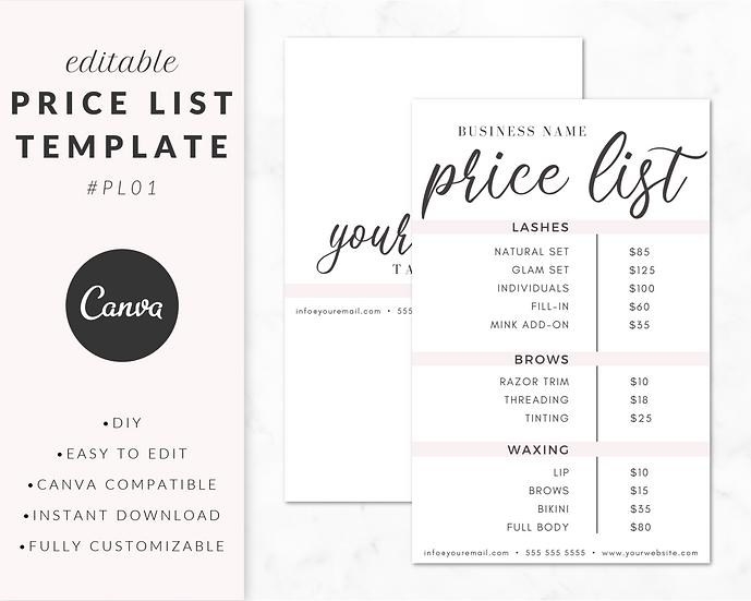 Price List Template - PL01