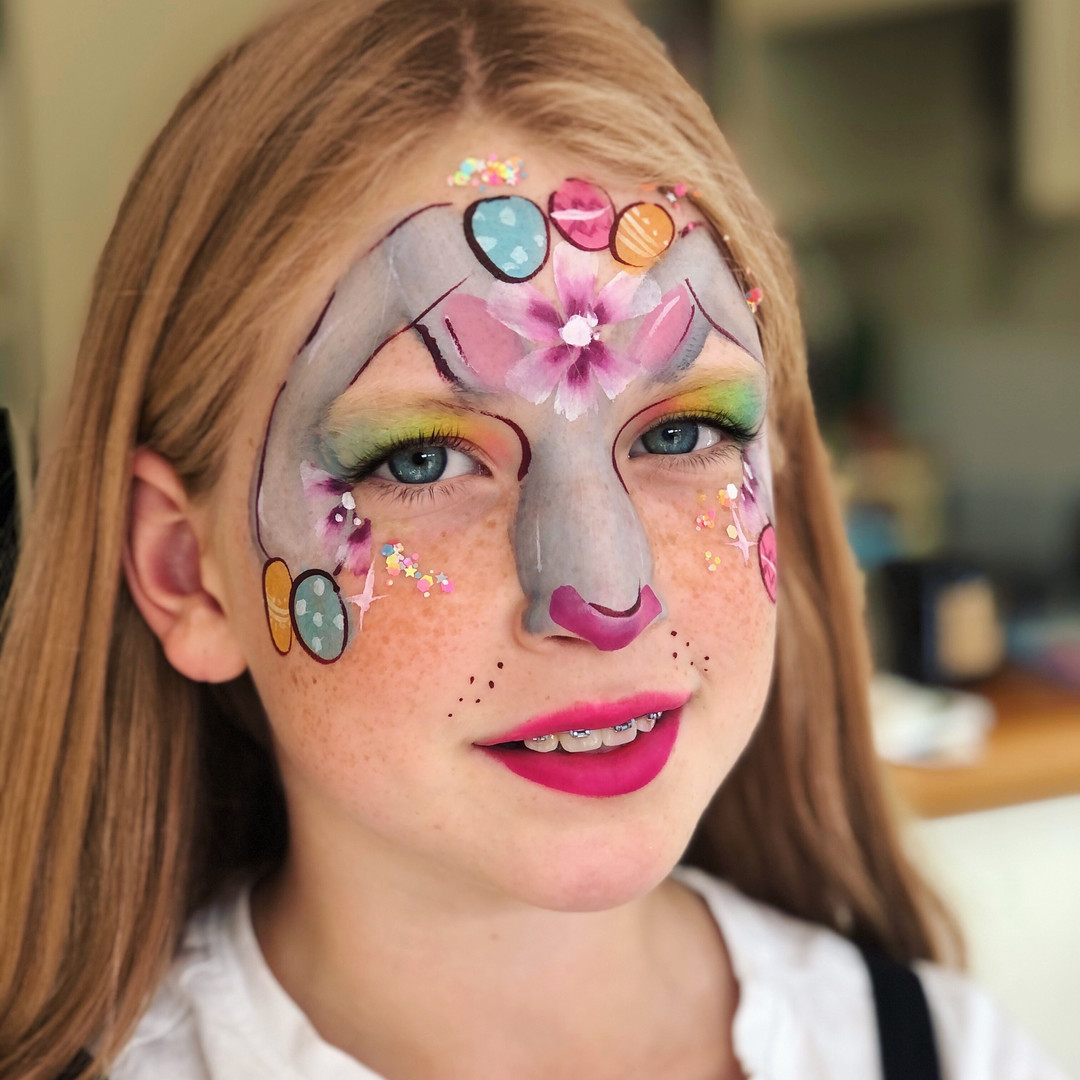 bunny face painting for Easter