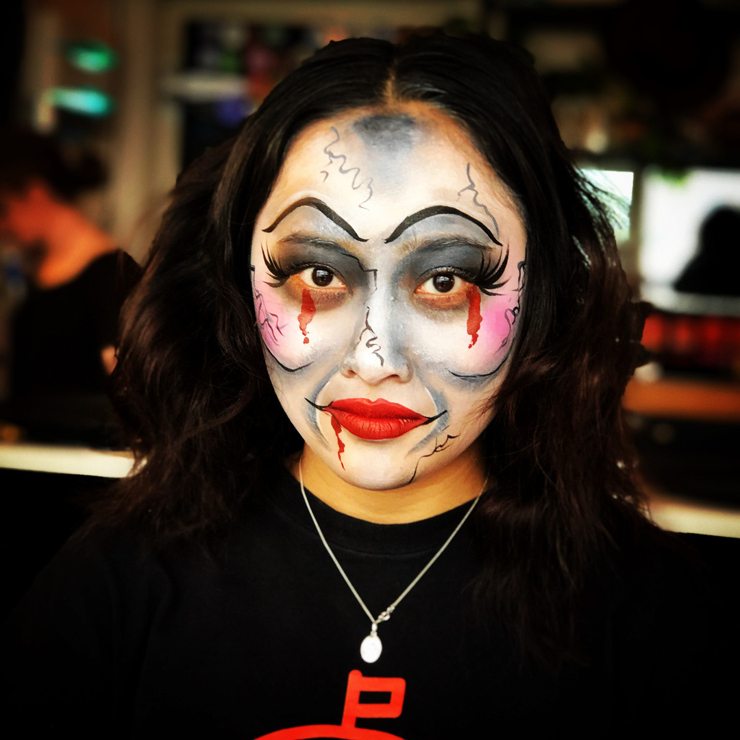 Annabelle doll adult face paint