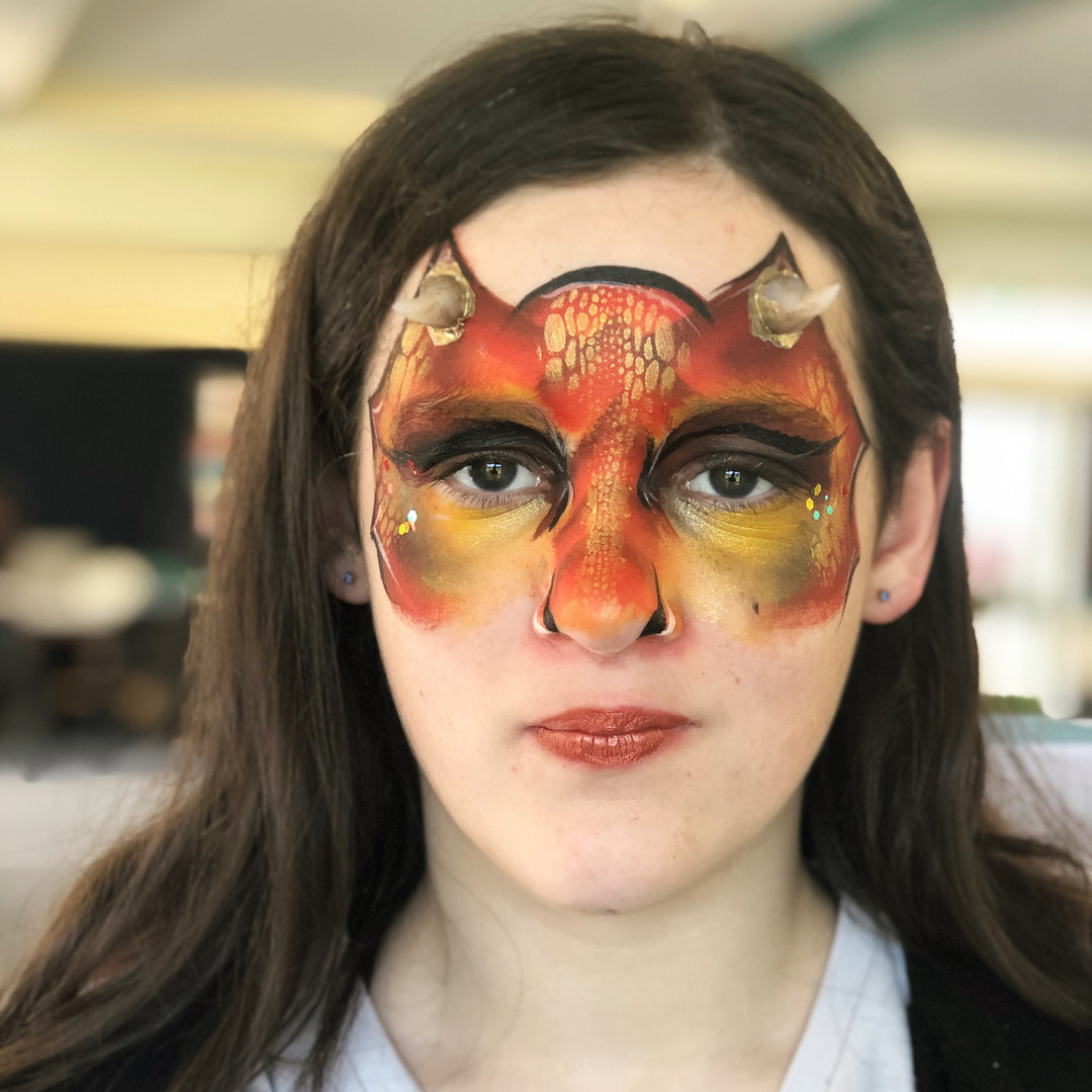 Red and gold dragon face paint