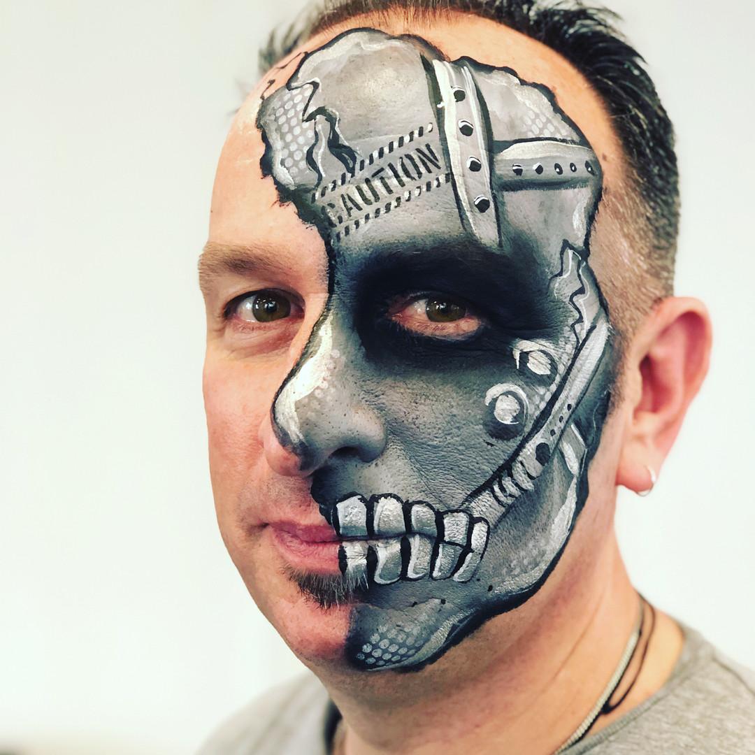 Bionic cyborg skull face paint