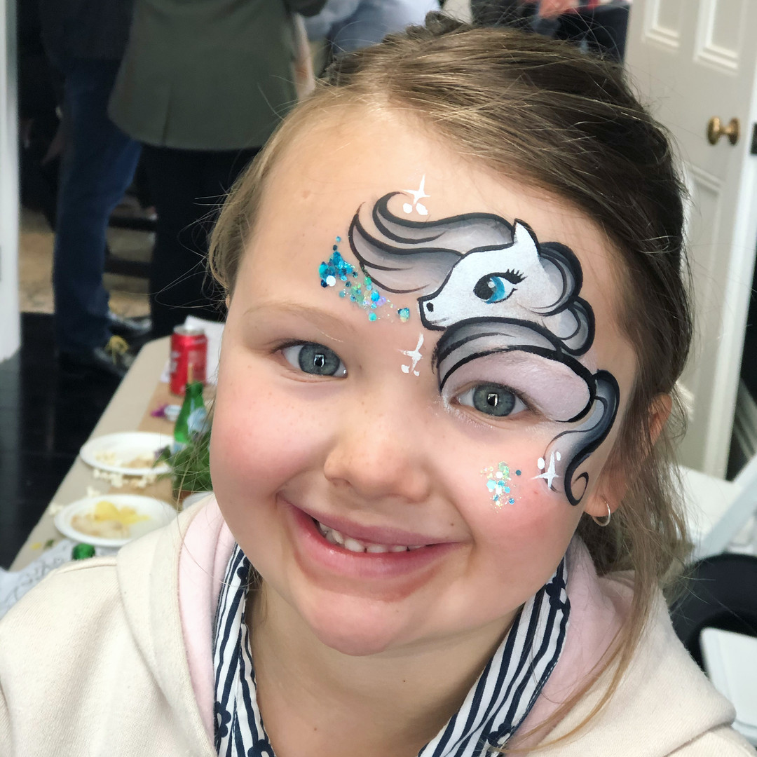 White horse face painting