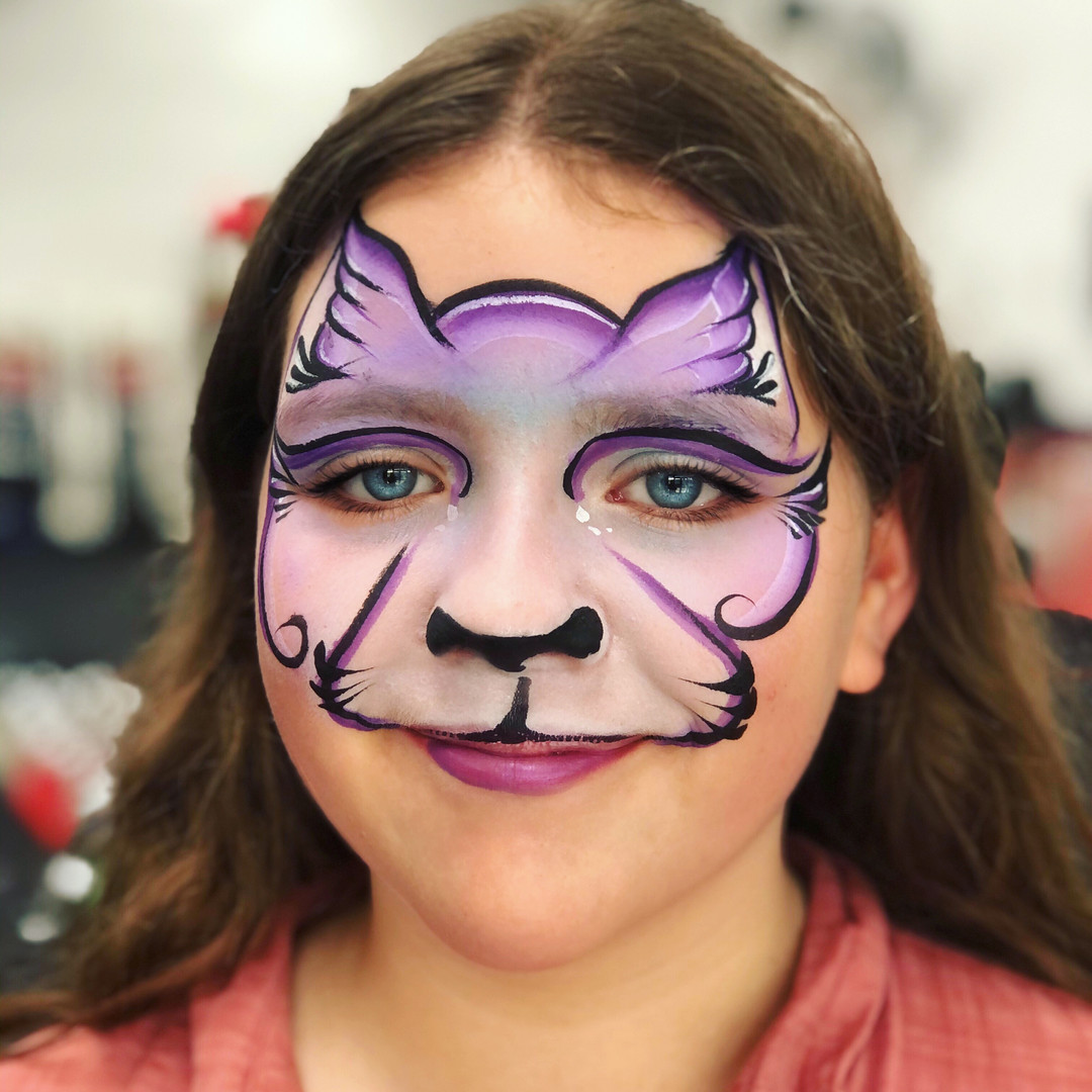 Lilac kitty cat face paint