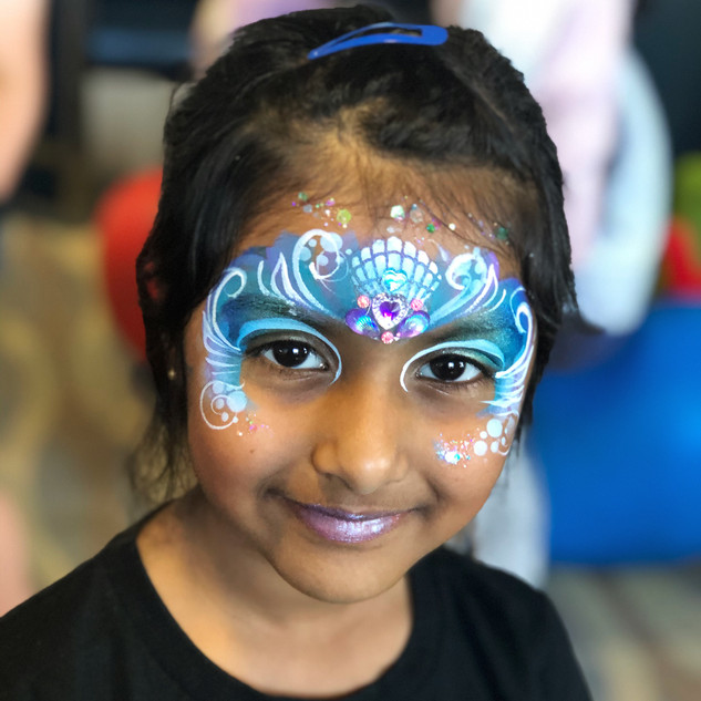 Mermaid shell face paint
