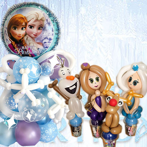 Frozen Elsa Balloon Twisting centrepiece and favours