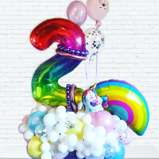 Rainbow 2 balloon centrepiece