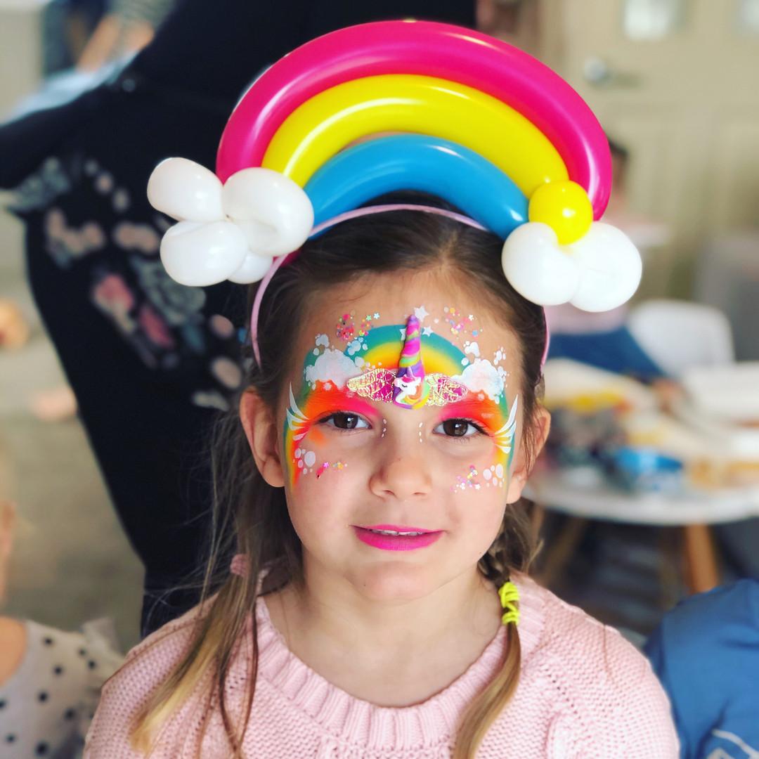 Rainbow Unicorn with Balloon Headband