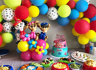 Paw Patrol balloon twisting decor at a party Wellington New Zealand