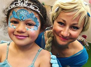 Princess Elsa with girl with Frozen face paint  Wellington New Zealand