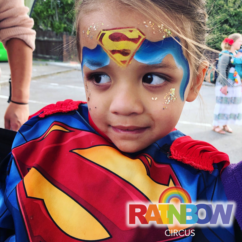 Superman superhero face painting Wellington New Zealand