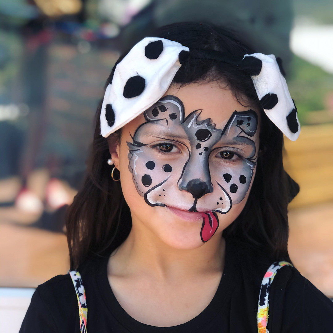 Dalmation dog face paint