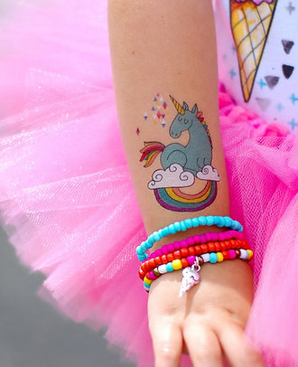 unicorn temporary tattoo on girls arm Wellington New Zealand