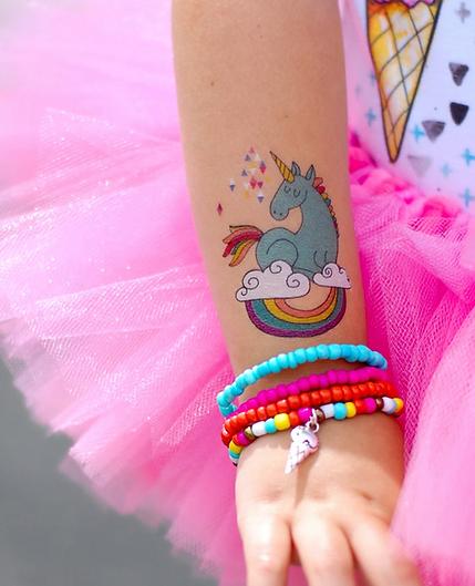 unicorn temporary tattoo on little girls arm Wellington New Zealand