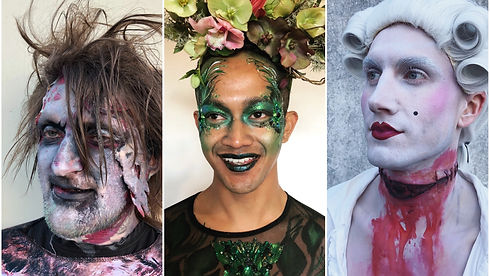 3 images of adult with Halloween makeup Wellington New Zealand
